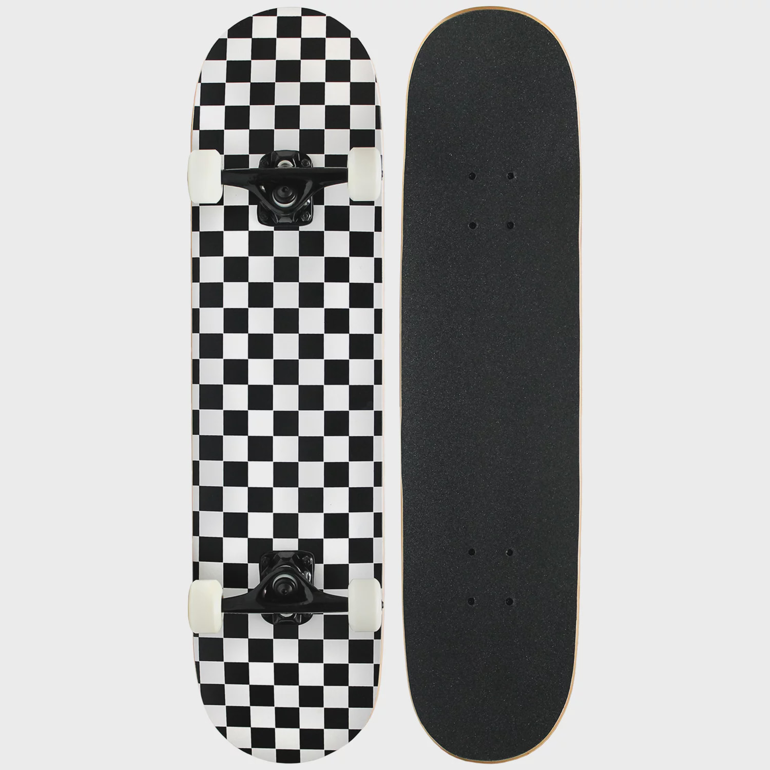 PRO Skateboard Complete Pre-Built CHECKER PATTERN 7.75 in Black White by