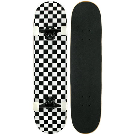 PRO Skateboard Complete Pre-Built CHECKER PATTERN 7.75 in Black/White (Gaming Skateboard)