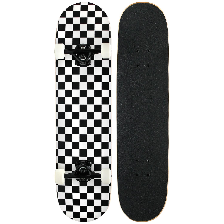 PRO Skateboard Complete Pre-Built CHECKER PATTERN 7.75 in Black/White