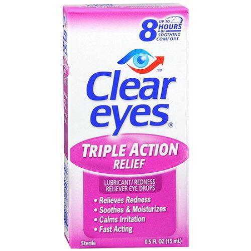 Clear Eyes Triple Action Lubricant Redness Reliever Eye Drops - 0.5 Oz