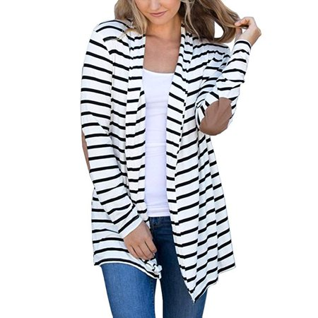 Cardigans Women Long Open Front Lightweight Cardigan Thin Striped Shawl Collar Outwear Ladies