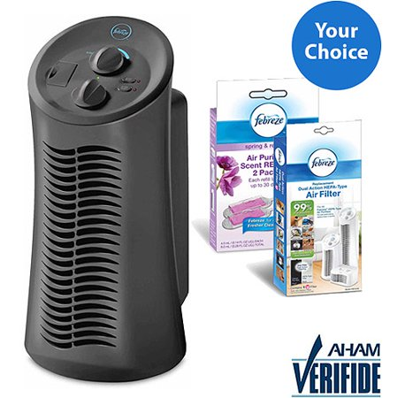 Febreze Mini Tower Air Purifier, Gray, FHT180V Solution Bundle Febreze Air Purifiers are the only air purifiers specially designed to powerfully clean the air, eliminate odors and add freshening with Febreze scent. Breathe cleaner air, breathe happy!