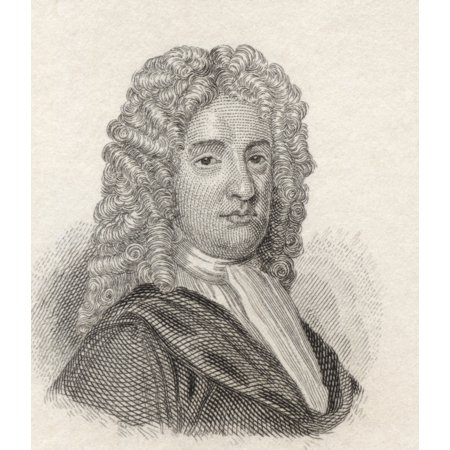 Nicholas Rowe 1674 To 1718 English Dramatist Poet And Miscellaneous WriterAppointed Poet Laureate In 1715 From Crabbs Historical Dictionary Published 1825 Canvas Art - Ken Welsh Design Pics (26 x 30)