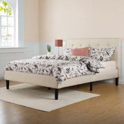 Zinus Priage by  Upholstered Button Tufted Platform Bed with Wooden Slats-Full