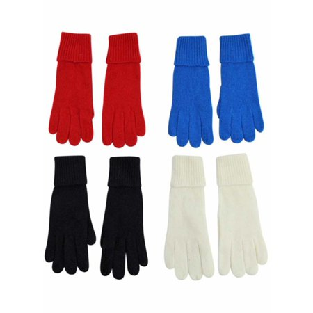 Black White Red Blue 4-Pack Winter Wool Angora Blend Women's Gloves (Black And Red Gloves)