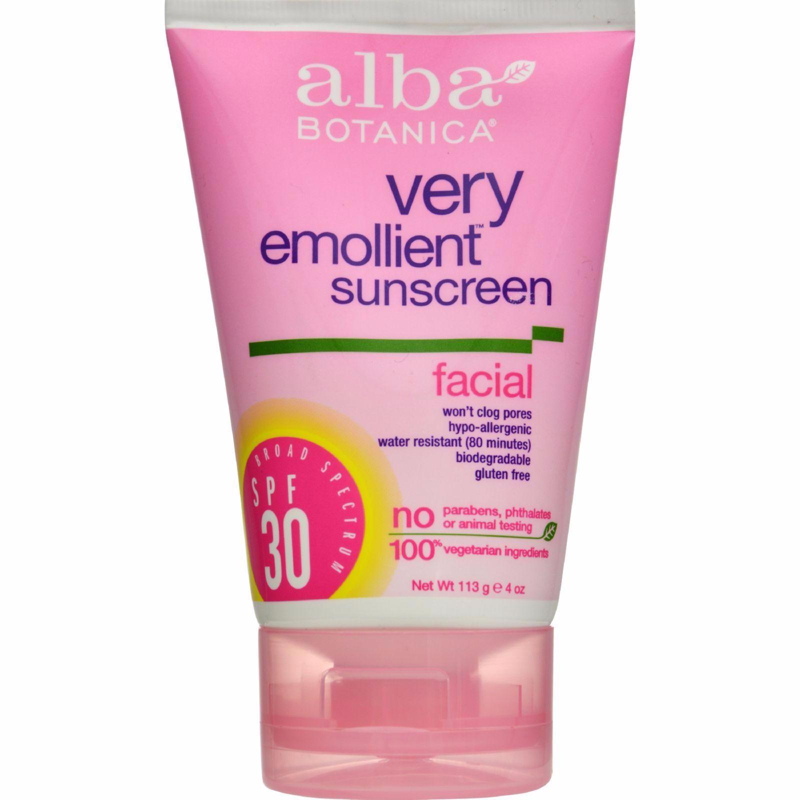 Alba Botanica Very Emollient Facial Sunscreen, Spf 30, 4 Oz, 2 Pack Rugby Acne Medication 5, Benzoyl Peroxide 5%, 1 Oz Each