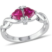 1-1/6 Carat T.G.W. Created Ruby and Diamond-Accent Sterling Silver Heart Engagement Ring