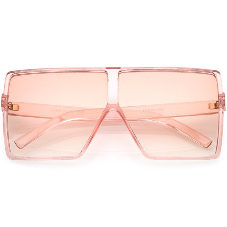 Super Oversize Translucent Square Sunglasses Flat Top Color Tinted Flat Lens 69mm -