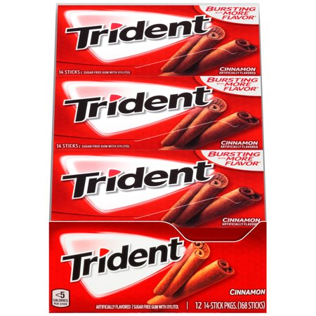 Cinnamon Dental Gum - Trident, Sugar Free Cinnamon Chewing Gum, 14 Pcs, 12 Ct