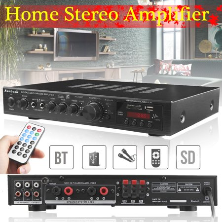 Sunbuck 110V 2000W 5CH B luetooth 4.1 AV Sound High P ower Amplifier Home Theater Cinema Receiver HIFI Stereo Amp RCA Mixer Echo System Remote Control For Karaoke MP3 DVD