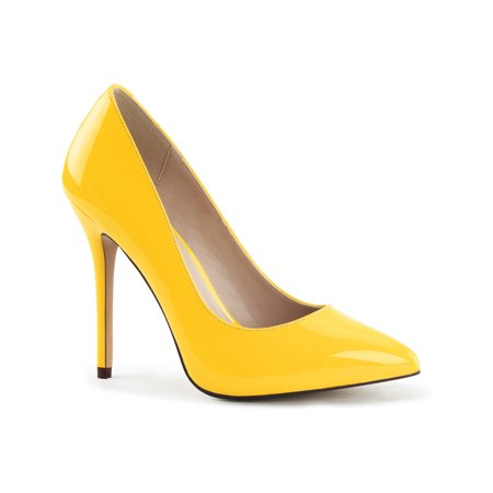 Womens Yellow High Heels 5 Inch Pumps Pointed Toe Shoes with Hidden Platform