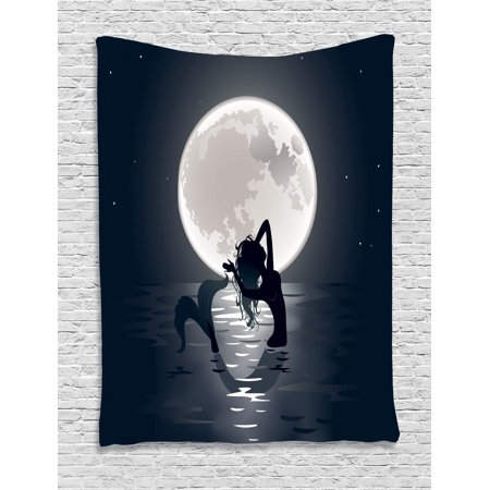 Mermaid Decor Wall Hanging Tapestry, Mermaid Singing At Night Silhouette Full Moon Lights Mythical Ornament, Bedroom Living Room Dorm Accessories, Gift Ideas, By