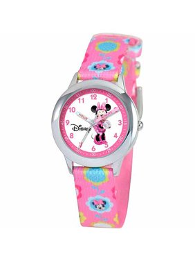 Minnie Mouse Girls' Stainless Steel Watch, Pink Strap