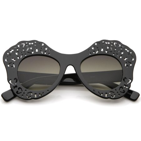 zeroUV - Women's Laser Cutout Frame Colored Mirror Lens Oversize Butterfly Sunglasses - 49mm
