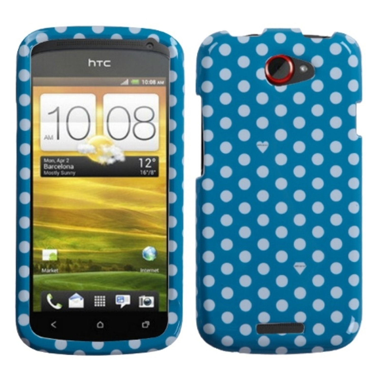 Insten Dots(Blue/white) Phone Case for HTC: One S