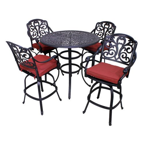California Outdoor Designs Roma 5 Piece Bar Height Dining Set with Cushion