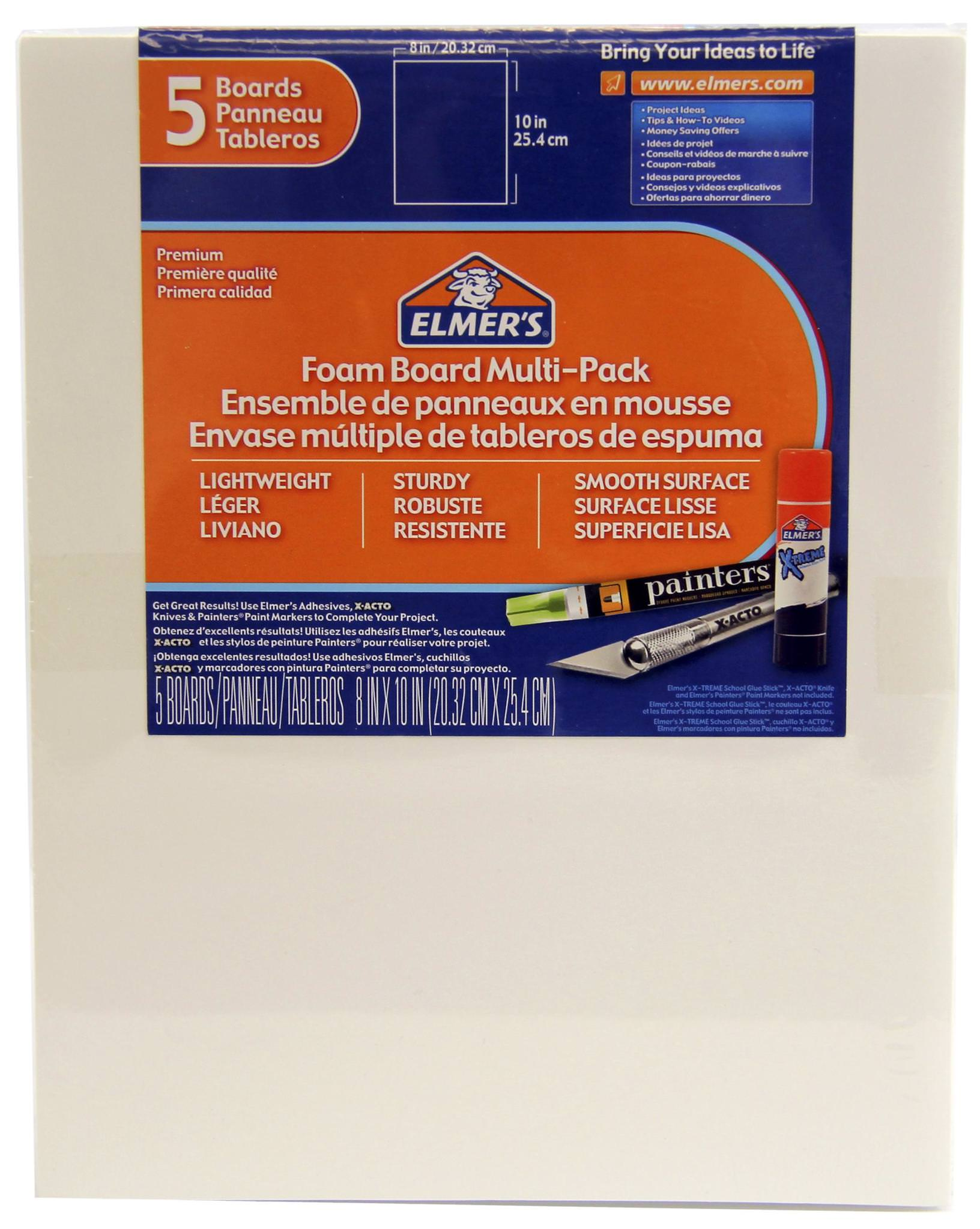 Elmer's Foam Board Multi-Pack, White, 8x10 Inch, Pack of 5 by Newell Brands