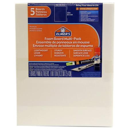 - Elmer's Foam Board Multi-Pack, White, 8x10 Inch, Pack of 5