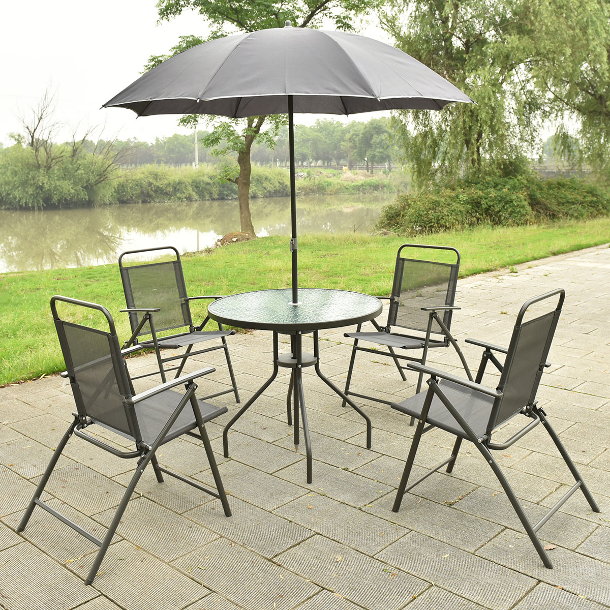 Costway 6 PCS Patio Garden Set Furniture Umbrella Gray With 4 Folding Chairs  Table