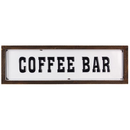 Porcelain Enamel Sign - Coffee Bar Enamel with Wood Frame Wall Sign 20.25 Inches