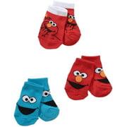 Sesame Street Elmo Newborn Baby Boy Quarter Socks, 3-Pack