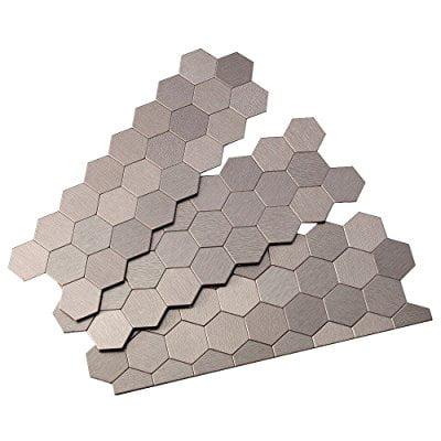 ACP A98 Aspect - 11u0022 x 4u0022 Hexagon Mosaic Wall Tile - Metal Visual - Sold by Piec