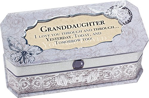 Granddaughter Petite Periwinkle Belle Papier Jewelry Music Box Plays Song You are my Sunshine by