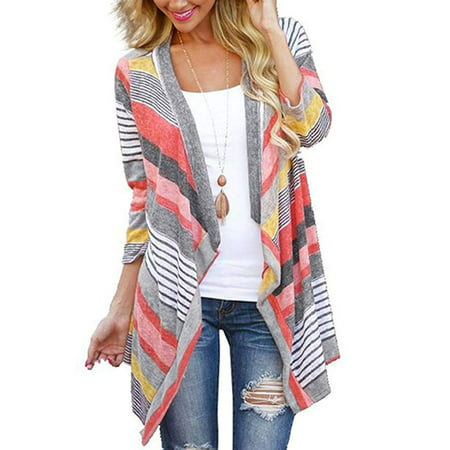 Cheetah Print Cardigan - Women's 3/4 Sleeve Cardigans Striped Printed Open Front Draped Kimono Loose Cardigan