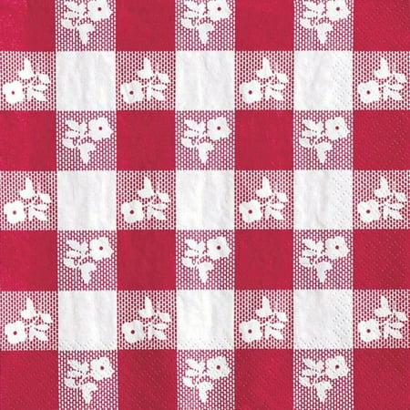 Party Creations Red Gingham Lunch Napkins, 50 Ct