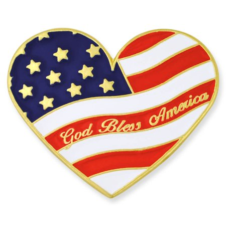 PinMart's Heart Shaped American Flag God Bless America Lapel Pin