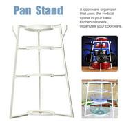 4 Layers Cookware Organizer Pan Pot Dishes Case Holder Storage Rack Kitchen Home Supplies,White
