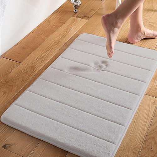 bed bath n more Super Soft and Absorbent 16x24 Memory Foam Bath Mat Pewter