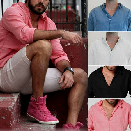 4ec39ebd4 Urkutoba - Men's Linen Long Sleeve Shirt Summer Cool Loose Casual V-Neck  Shirts Tops M-2XL - Walmart.com