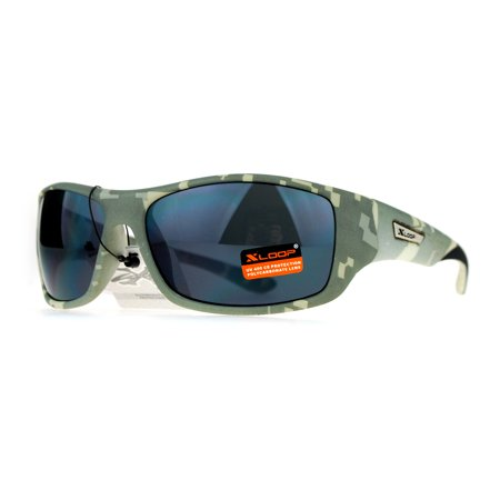 Xloop Army Digital Camouflage Warp Plastic Biker Style Sunglasses Grey (Artsy Sunglasses)