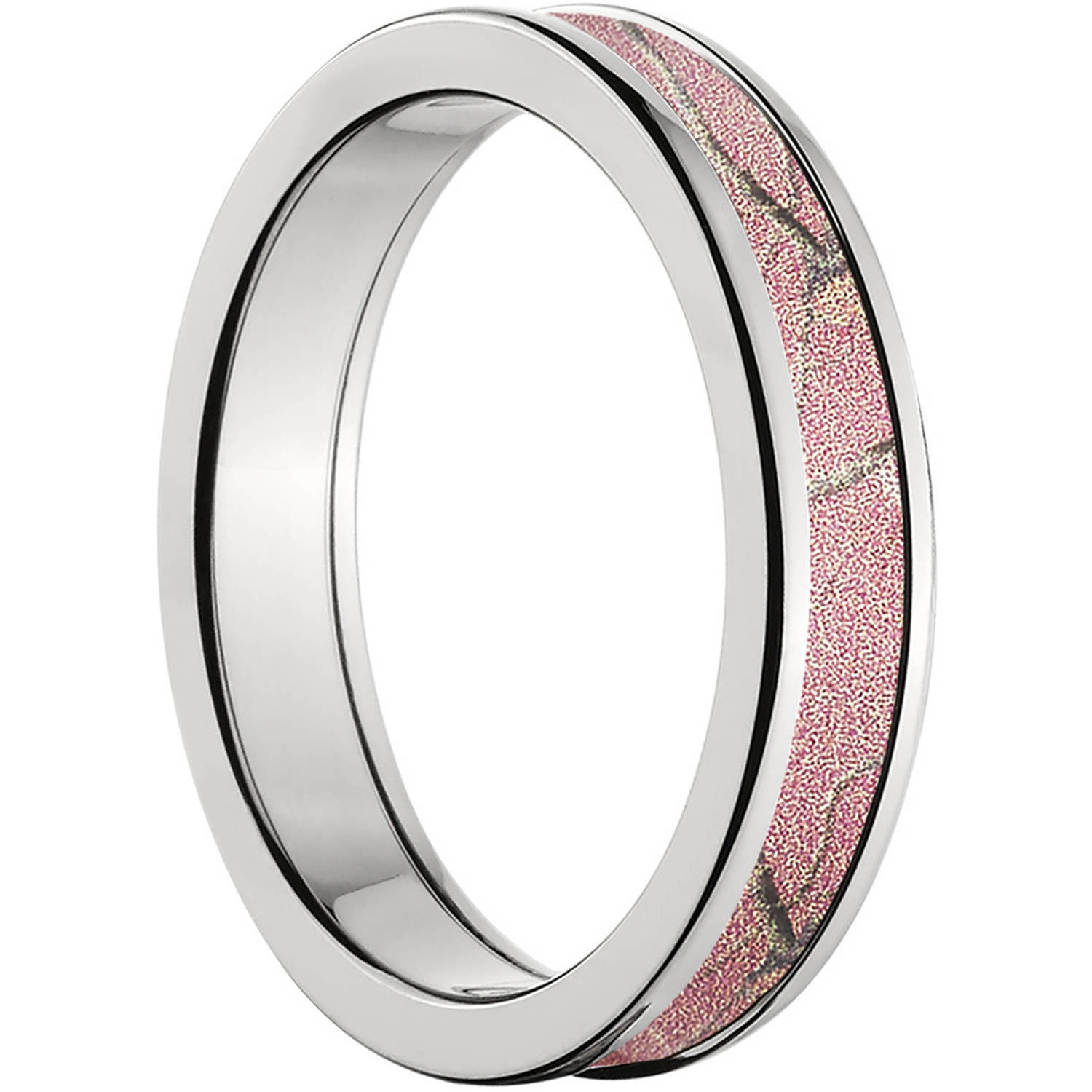 4mm Half Round Titanium Ring with a RealTree Pink Camo Inlay