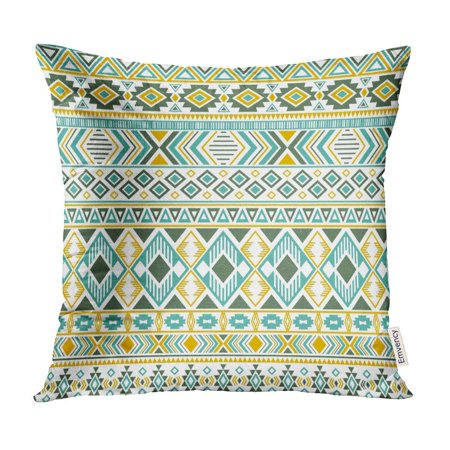 ECCOT Sacral Tribal Ethnic Motifs Geometric Unusual Gypsy Shapes Sprites Traditional Triangles Pillow Case Pillow Cover 16x16 inch