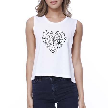 Heart Spider Web Halloween Crop Top Womens White Graphic Tank Top (Spider Web Crop Top)