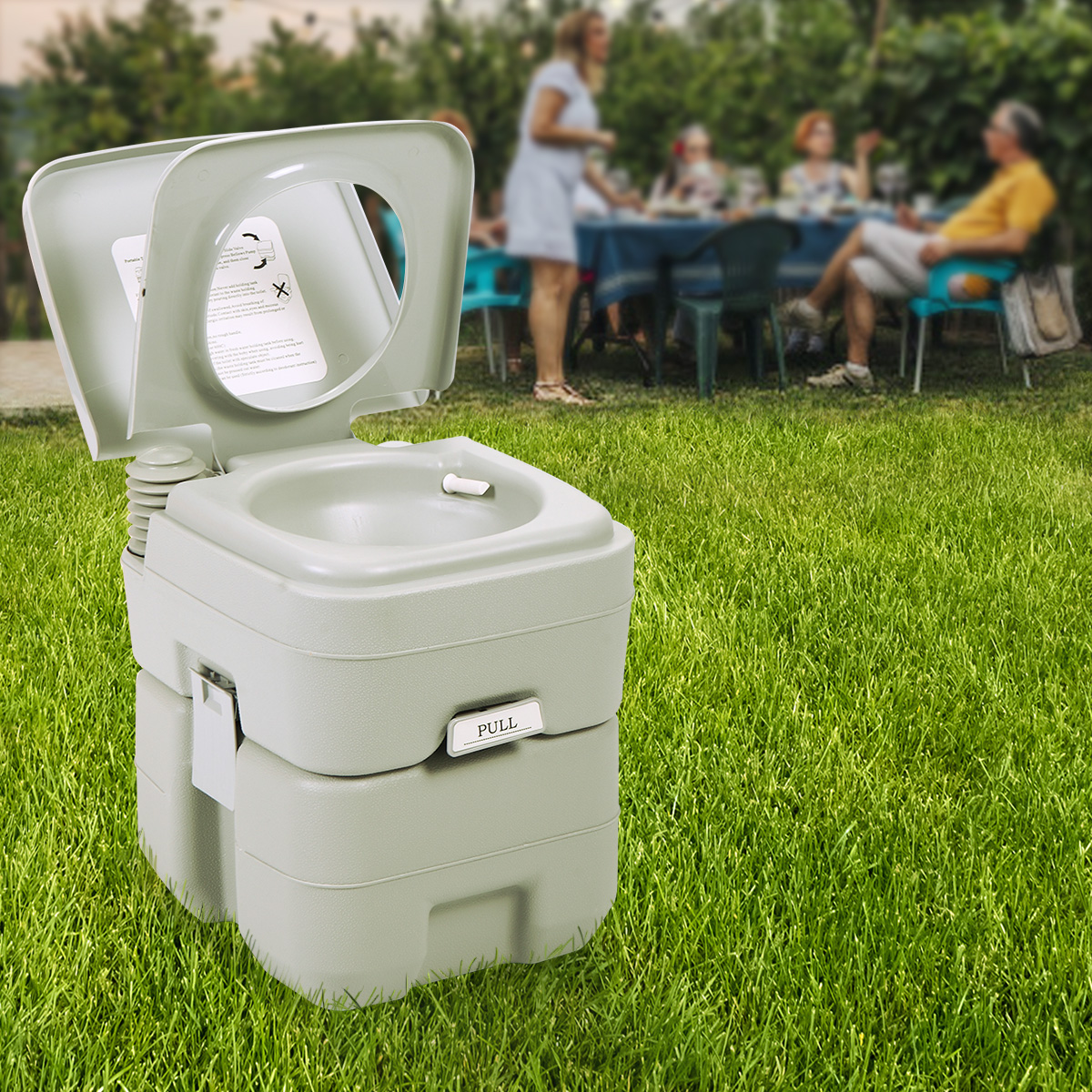 Details about  /Aftermokit Portable Toilet With 5.3 Gallon Waste Tank  3.2 Gallon Water Flush T