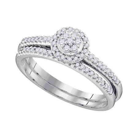 10k White Gold Womens Round Diamond Cluster Bridal Wedding Engagement Ring Band Set 1/3 Cttw
