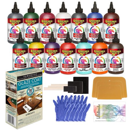 Unicorn SPiT Complete Bundle with All 14 Colors in 8-Ounce Bottles, 1 Pint Famowood Glaze Coat and Pixiss Accessory Kit with Gloves, Spreaders, Brushes and Exclusive Guide