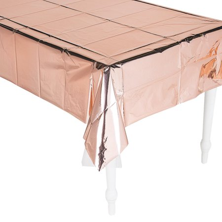Fun Express - Shiny Metallic Rose Gold Tablecloth for Wedding - Party Supplies - Table Covers - Solid Table Cover - Wedding - 1 Piece