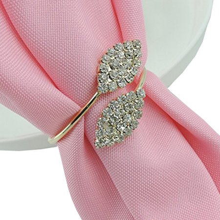 12Pcs Rhinestone Napkin Rings Handmade Serviette Buckle Holder Wedding Dinner (Diamond Ring Napkin Holders)