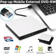 External DVD Drive USB 3.0, TSV Portable CD/DVD +/-RW Optical Drive Burner High Speed Transfer DVD Writer for Windows 10/8 / 7 Laptop Desktop Mac MacBook Pro Air iMac HP Dell LG Asus Acer Lenovo