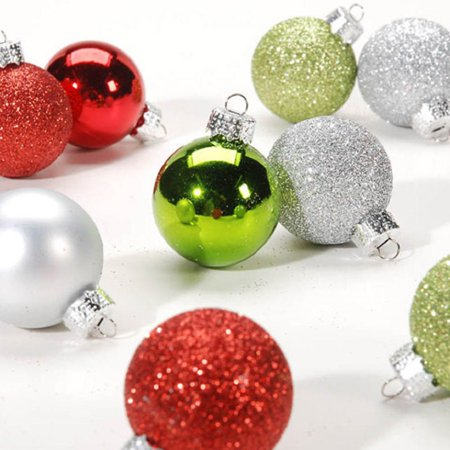 Miniature Red Green Silver Balls Christmas Tree Ornaments Set of 9 30mm ()