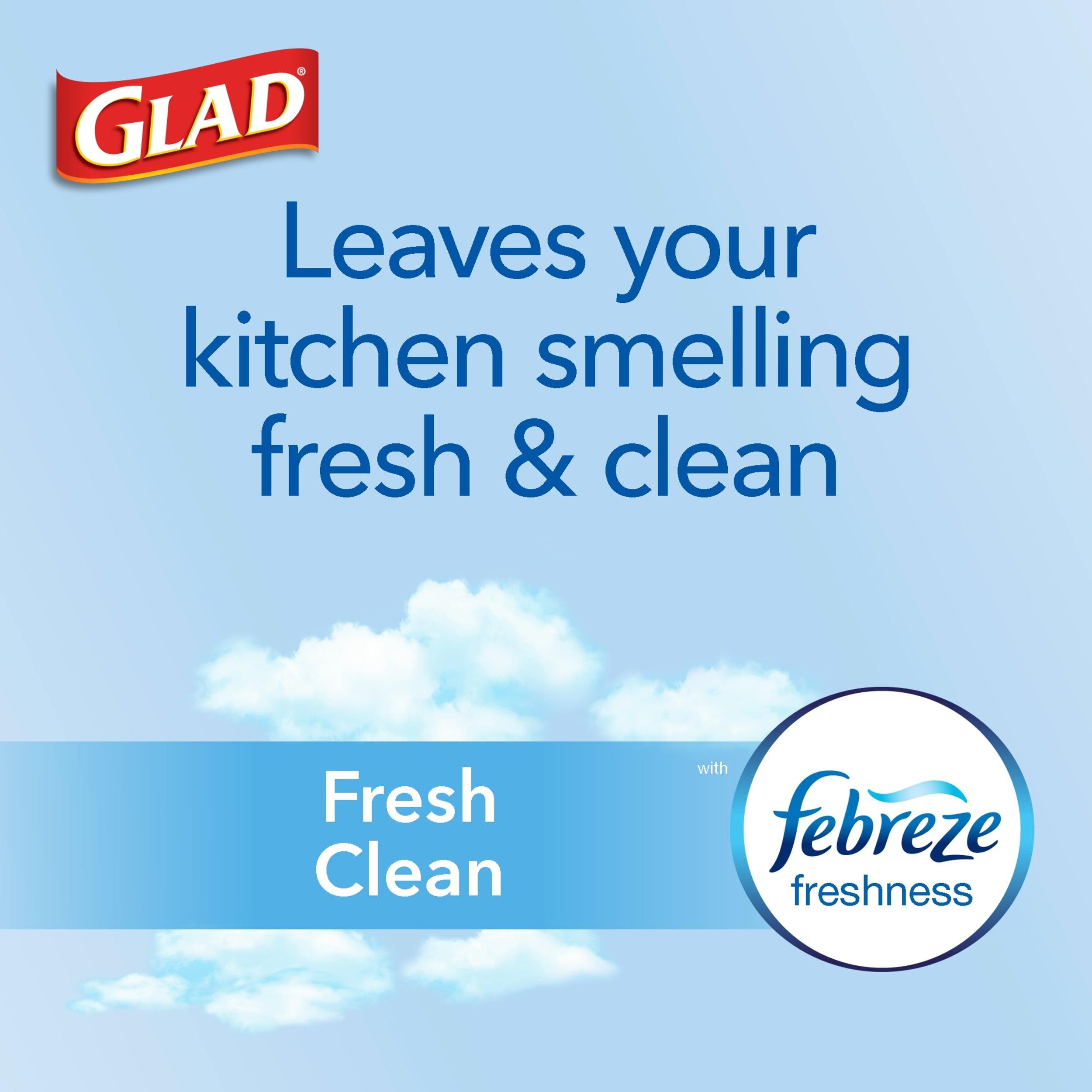 40 Ct 13 Gal Glad ForceFlex Tall Kitchen Drawstring Trash Bags Fresh Clean P