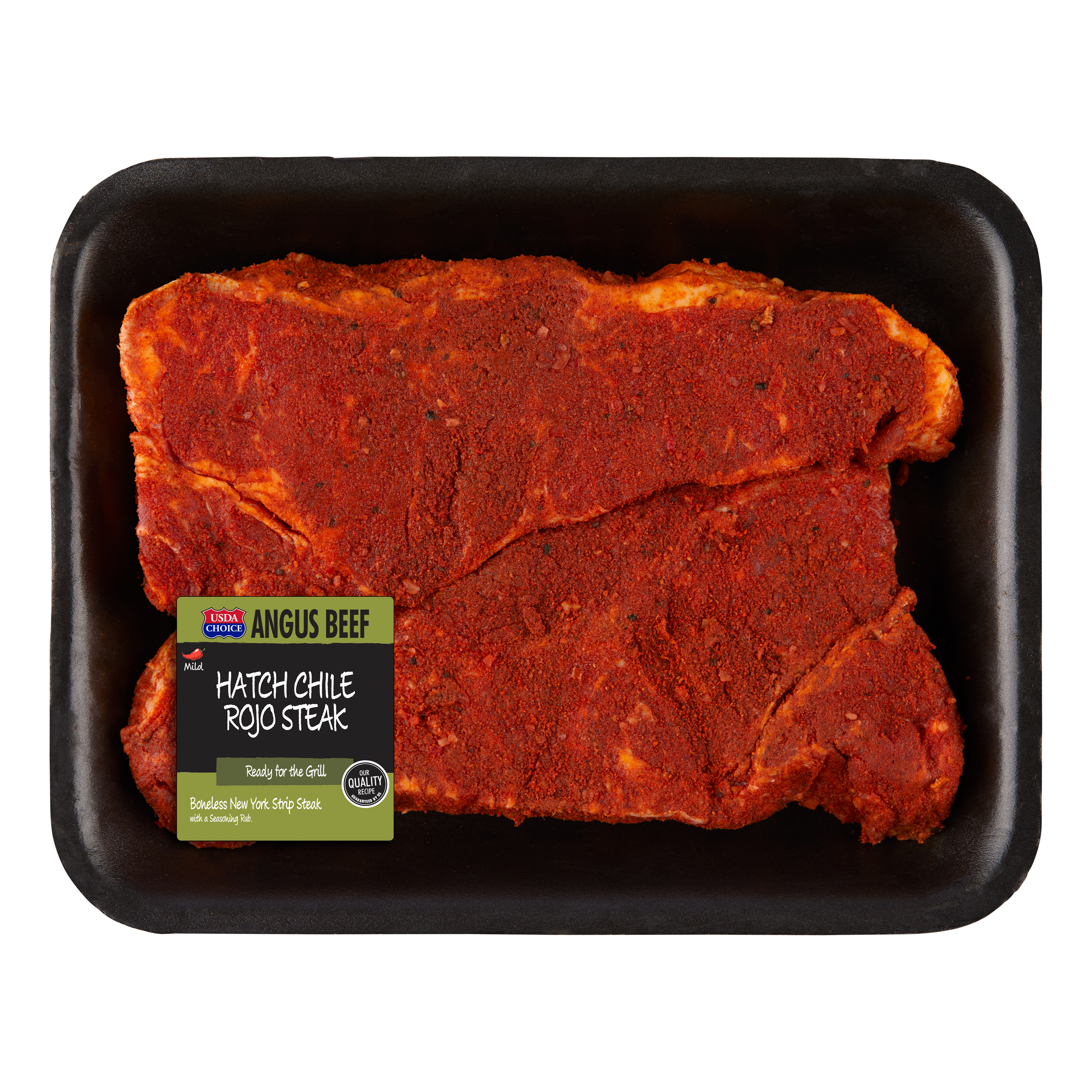 Beef Choice Angus New York Strip Steak with Hatch Chili Seasoning 0.5-1.5 lb
