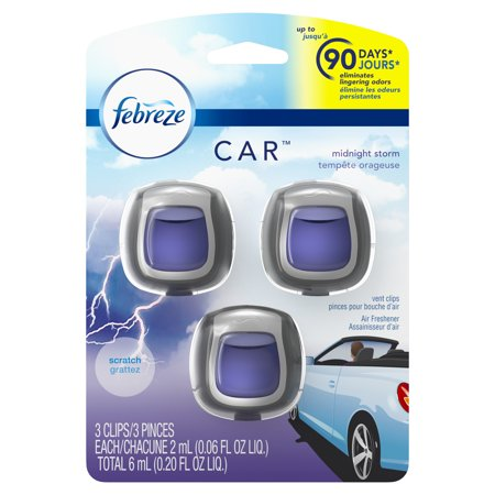 Febreze Car Air Freshener Vent Clips, Midnight Storm, 3 Count