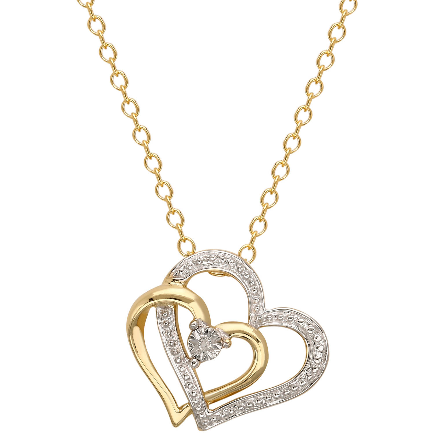 """Diamond Accent 18kt Gold over Sterling Silver Double Heart Pendant, 18"""""""