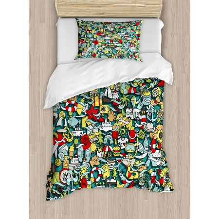 Concept Compass Set (Doodle Twin Size Duvet Cover Set, Simple Mini Drawings of Holiday Related Concepts Caravan Compass Lifebuoy Breakfast, Decorative 2 Piece Bedding Set with 1 Pillow Sham, Multicolor, by)