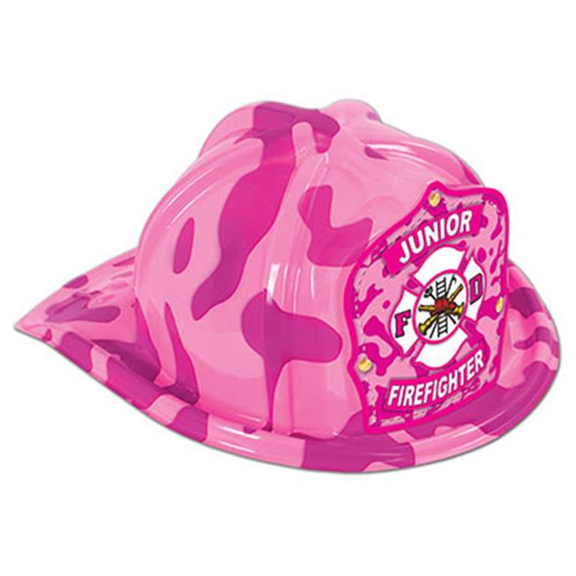Beistle 66778PC Pink Camo Plastic Jr Firefighter Hat, Pack Of 48